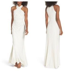 Eliza J Side Pleat Crossneck Ivory Gown Size 4